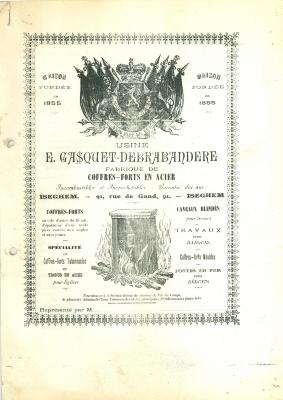 Oude informatiebrochure en prijslijst voorbeeld 1, firma Gasquet, Izegem, 1897