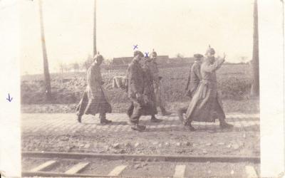 Ulanen met burgers, Beveren/Staden, 1914