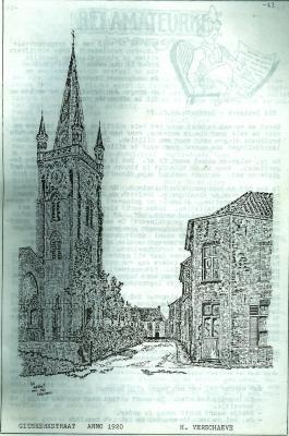 Pentekening, kerkstraat Gits