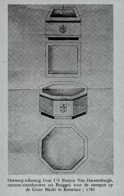 Ontwerptekening van steenput op Grote Markt Roeselare, 1781