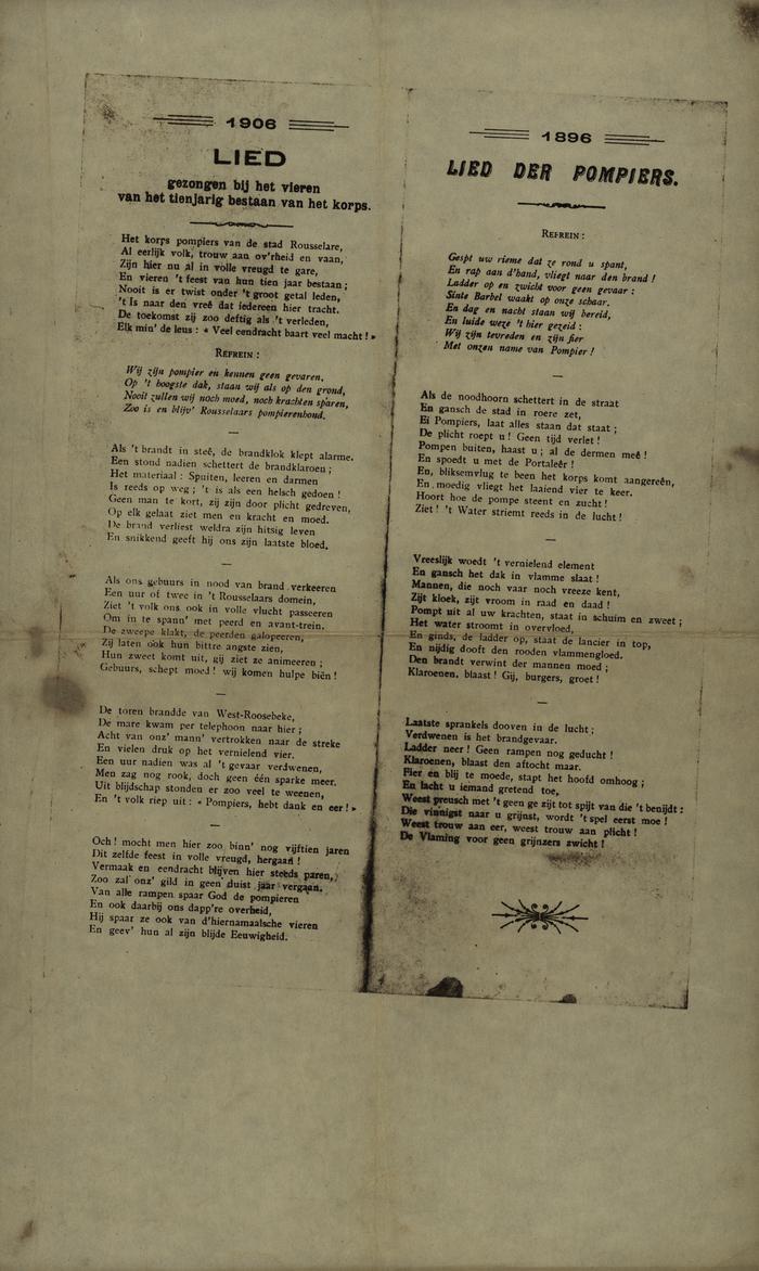 'Lied' uit 1906 en 'Lied der Pompiers' uit 1986