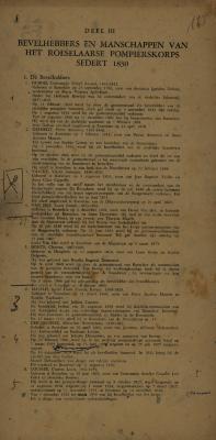 Bevelhebbers en manschappen van 1830 tot 1963