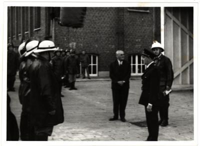 Brandweeroefening, Roeselare, 1967