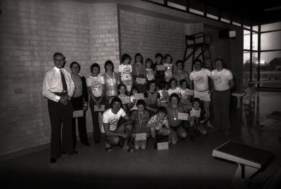 Clubkampioenschap zwemmen 'De Dolfijnen', Moorslede mei 1977