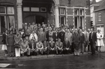 Voetbalclub SV ontvangen op gemeentehuis, Moorslede 1976