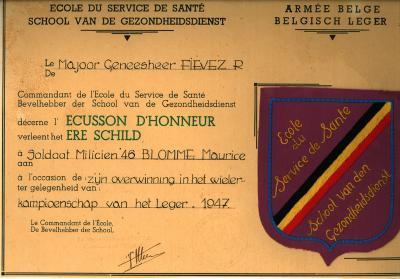 Diploma School van gezondheidsdienst voor Maurice Blomme, 1947