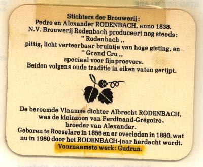 Bierkaartje Rodenbach 1980