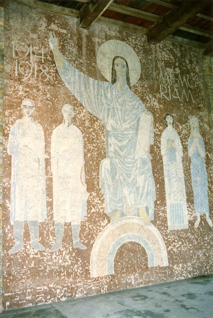 Mozaïek in de galerij op het Duits kerkhof in Hooglede