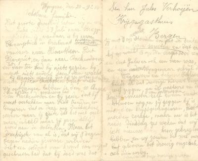 Jules Verhoye, brief 20 september 1914