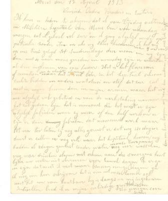 Jules Verhoye, brief 17 april 1913