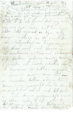 Jules Verhoye, brief 10 augustus 1914