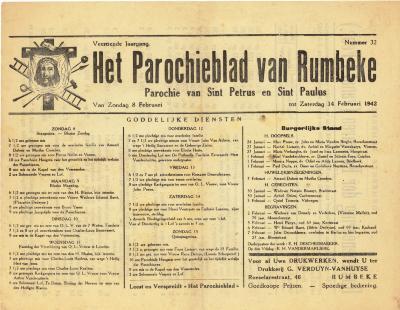 Parochieblad Rumbeke, 1942
