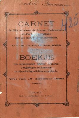 Boekje voor minderjarige meisjes, vrouwen, jongelingen en kinderen die werken in nijverheidsgestichten, Izegem, 1909