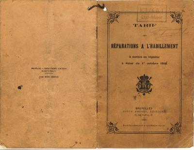 Prijslijst voor het herstellen van de kledij, 1918.