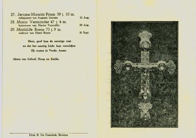 Gedachtenis overledenen parochie, Beveren