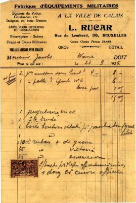 Aankoopfactuur van stoffen, 1926