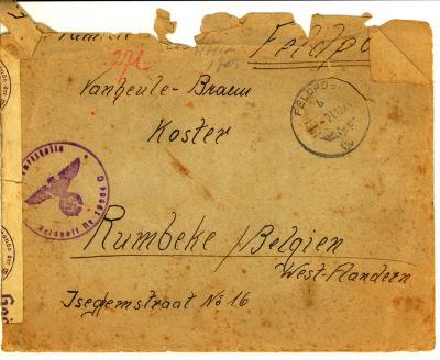 Brief aan familie Vanheule van een Duitse soldaat, WO II