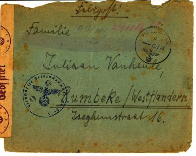 Brief aan Emiel Vanheule van een Duitse soldaat; WOII