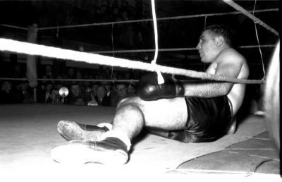 Bokswedstrijd met Cotijn, match in Gullegem, 1957