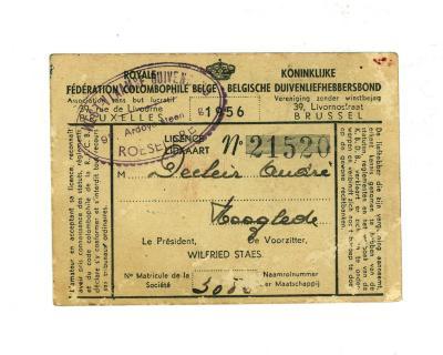 Lidkaarten Koninklijke Belgische Duivenliefhebbersbond door de jaren heen