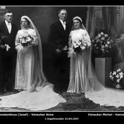 Huwelijk Constantinus Vanneste - Anna Vanacker + Michel Vanacker - Martha Vanneste, Ingelmunster, 1937