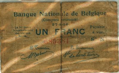 Noodgeld één en twee frank,1914