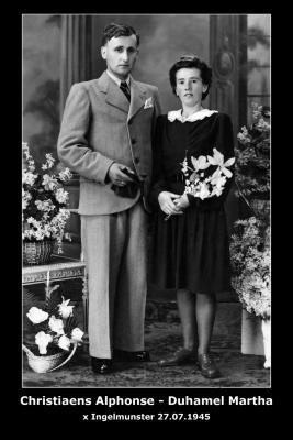Huwelijk Alphonse Christiaens - Martha Duhamel, Ingelmunster, 1945