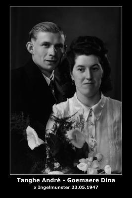 Huwelijk André Roger Tanghe - Blondina Maria Goemaere, Ingelmunster, 1947