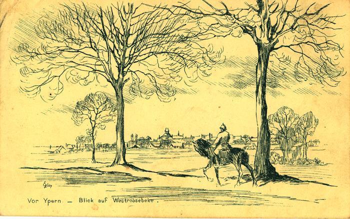 Pentekening zicht op Westrozebeke