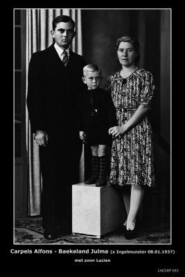 Carpels Alfons Firmin en Baekeland Julma Theresia, Ingelmunster, 1937