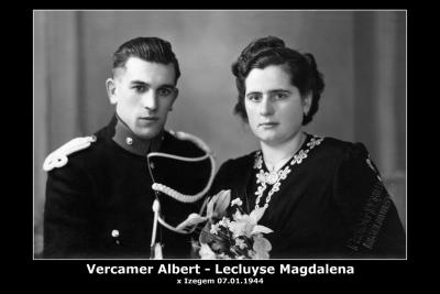Vercamer Albert Daniël en Lecluyse Magdalena Maria, Izegem, 1944
