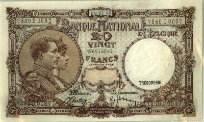 Oud geld type 1919 nationale reeks (thesaurie) 20 BFR