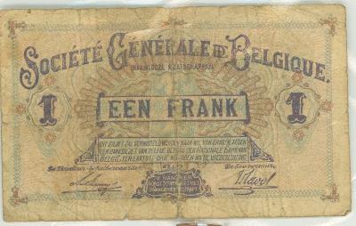 Oud geld type Société Générale de Belgique 1BFR, 2BFR, 5BFR en 20BFR