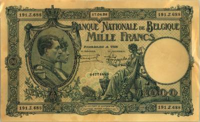 Oud geld type 1919 nationale reeks 1000BFR