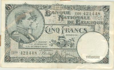 Oud geld Type 1919 nationale reeks (thesaurie) 5 BFR