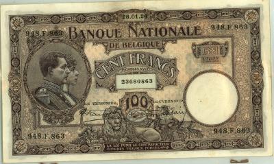 Oud geld type 1919 nationale reeks 100 BFR