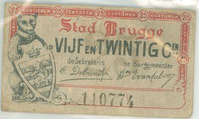Noodgeld WO I, Brugge