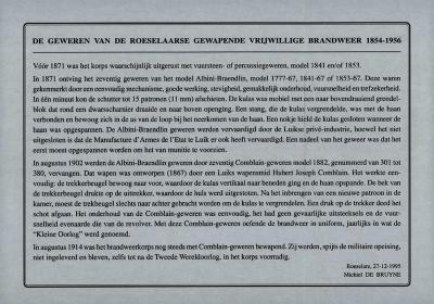 """Tekst """"De geweren van de Roeselaarse Gewapende Brandweer 1854-195"""" door Michiel De Bruyne"""