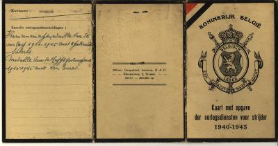 Kaart opgave der oorlogsdiensten, WO II
