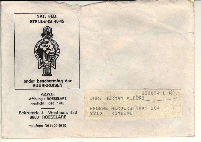 Envelop Nationale Federatie Strijders 1940-1945