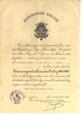 Brief Herinneringsmedaille, WO II