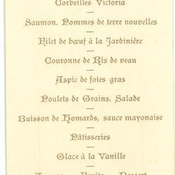 Franstalige menukaart eerste communie