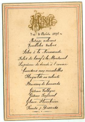 Franstalige menukaart 1896