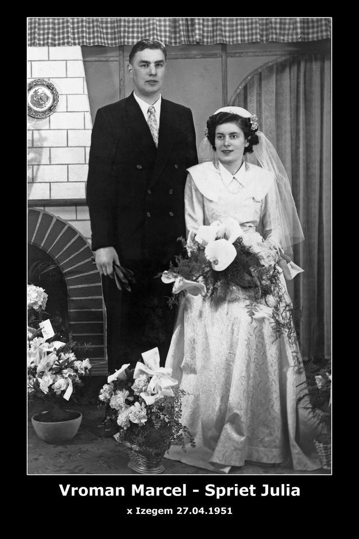 Vroman Marcel Leo en Spriet Julia Maria, Izegem, 1951
