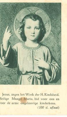 Lidkaart/bidprentje Heilige Kindsheid,1939
