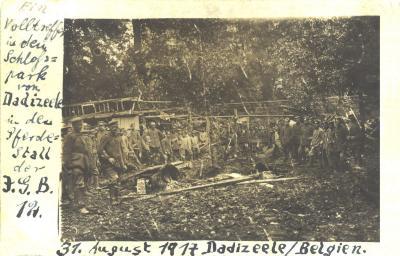 Beschoten paardenstal, kasteelpark, Dadizele, 31 augustus 1917