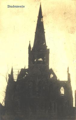 Beschadigde kerk,  Dadizele