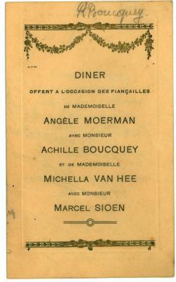 Franstalige menukaart 1924