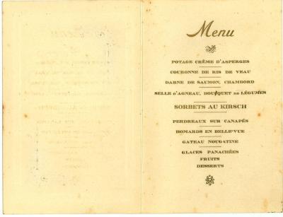 Franstalige menukaart 1928