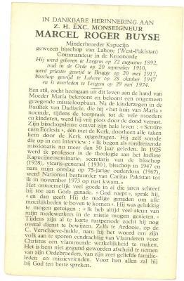 Bidprentje Monseigneur Buyse, 1974